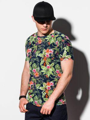 pánské černé tričko s pestrobarevným květinovým potiskem