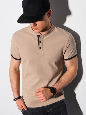 béžové pánské tričko na knoflíky
