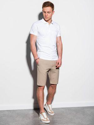 pánský outfit - bílá polokošile, béžové pánské chinos kraťasy