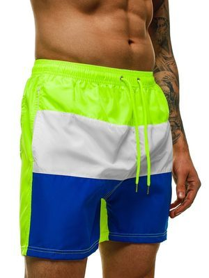 tříbarevné pánské plavky - neonová zelená, bílá a modrá