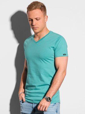 jednobarevné tyrkysové pánské tričko s v-výstřihem