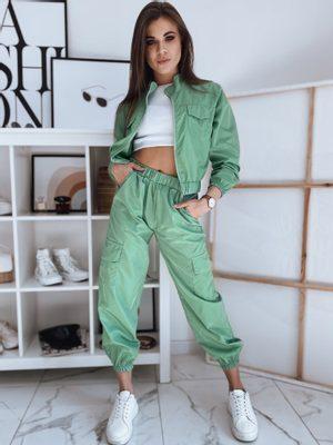 sportovní dámský zelený komplet - krátká bunda s dlouhým rukávem a dlouhé kalhoty