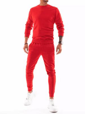 jednobarevná pánská tepláková souprava v červené barvě