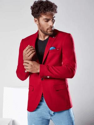 červené pánské sako