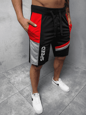 černé pánské sportovní kraťasy s červeným pásem