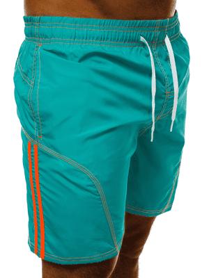 tyrkysové pánské plavky s výraznými oranžovými pásy