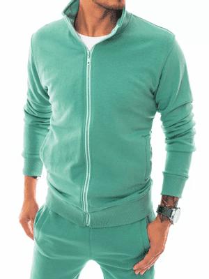 pastelově zelená dvoudílná jednobarevná pánská tepláková souprava