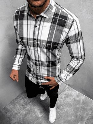 kostkovaná černo-bíla pánská košile