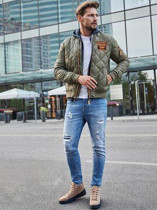 pánská zelená bomber bunda, modré pánské roztrhané džíny