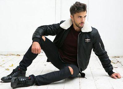 pánská černá kožená zateplená bomber bunda, černé džíny