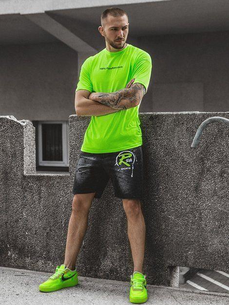 sportovní outfit - neonové zelené tričko, šedé kraťasy