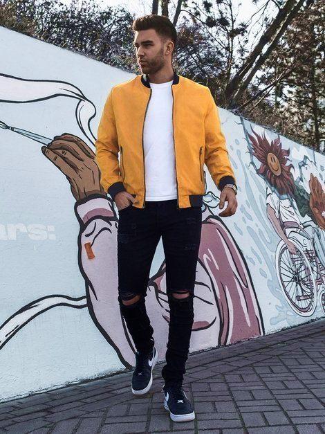 pánský outfit - žlutá bombera, bílé tričko, černé džíny