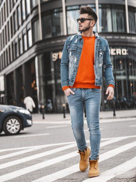 pánská modrá džínová bunda