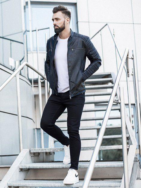 pánský outfit - černá kožená bunda, bílé tričko, černé džíny