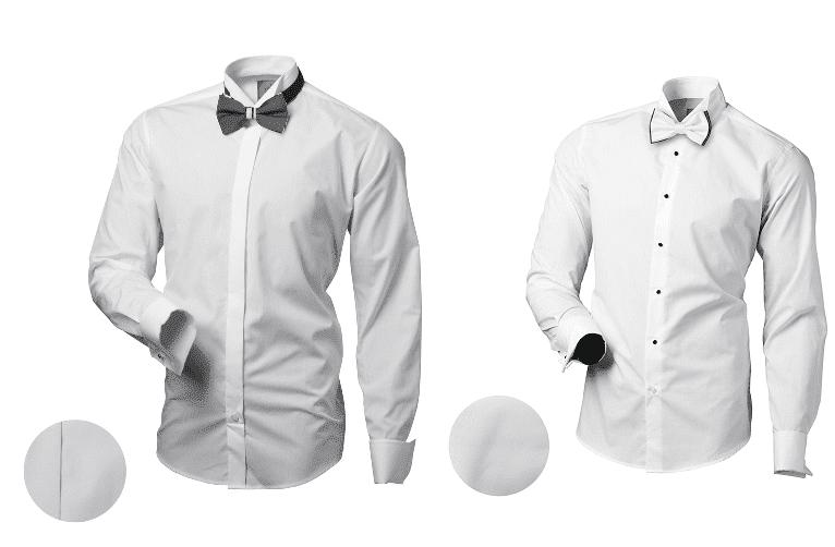 bílá pánská smokingové košile s motýlkem