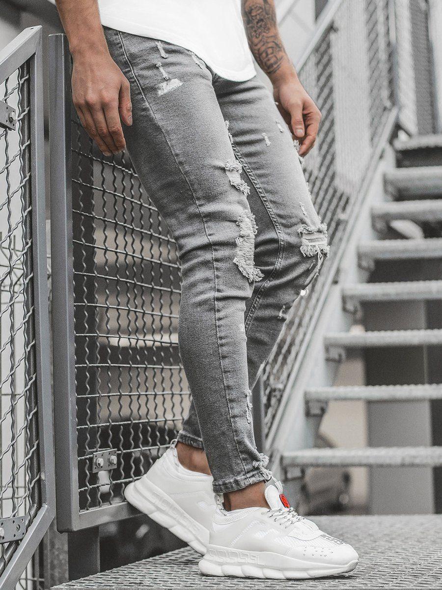 pánské šedé roztrhané džíny