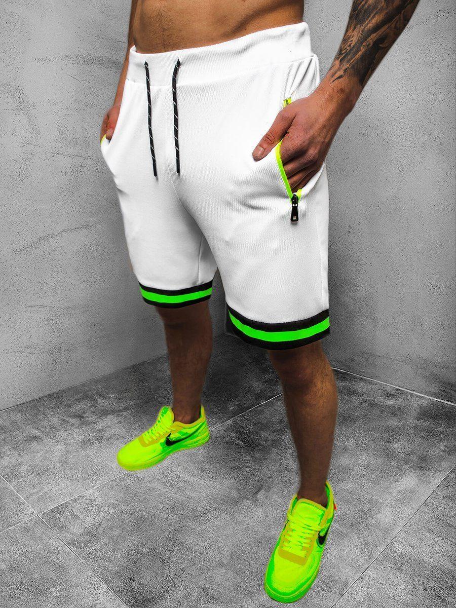 pánské bílé teplákové kraťasy s neonovým zeleným páskem