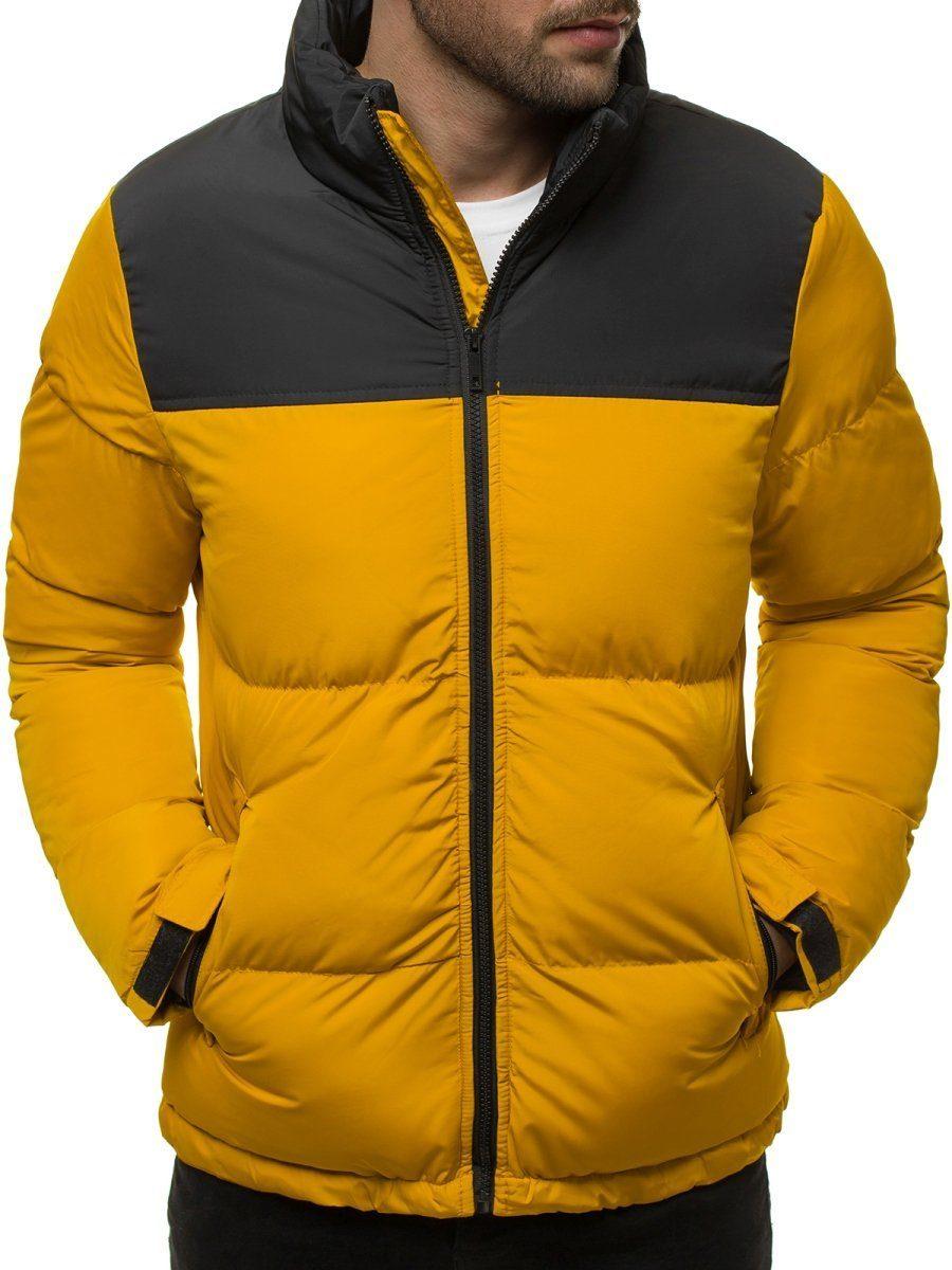 panská zimní bunda žlutá