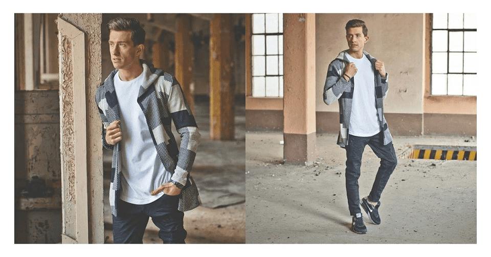 patchwork kardigan v černé a krémové kombinaci, bílé tričko, černé džíny