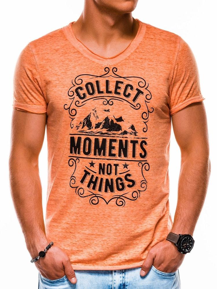 7338b8515 Jedinečné pánské tričko oranžové s1148 - Budchlap.cz