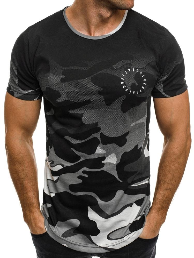 d78ffd47f340 Stylové šedé tričko s maskáčovým vzorem BREEZY 524 - Budchlap.cz