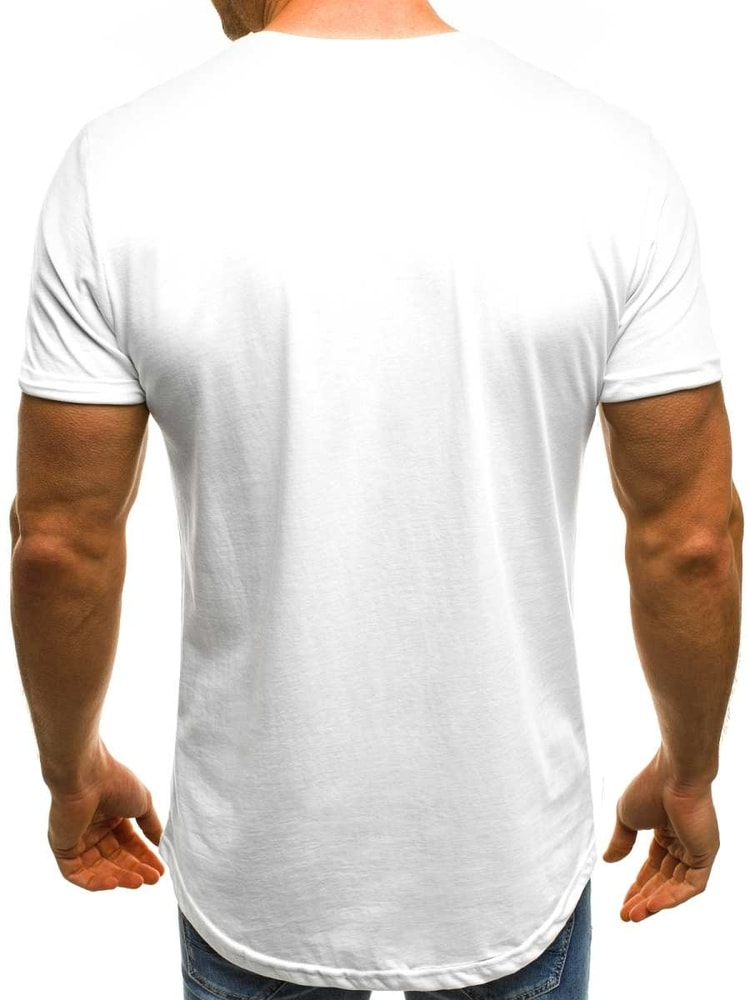 40f2d24d25ea Stylové pánské bílé tričko OZONEE B 181159 - Budchlap.cz