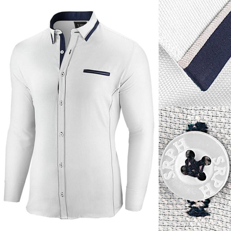 eb0b4556393e Bílá slim fit pánská košile s dlouhým rukávem - Budchlap.cz