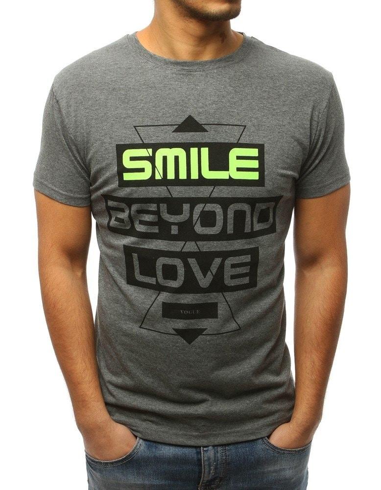 c858637639f8 Antracitové tričko SMILE BEYOND LOVE - Budchlap.cz