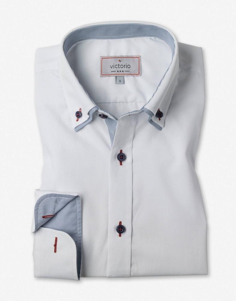 cc8084bd3567 Elegantní bílá slim fit pánská košile V013 - Budchlap.cz