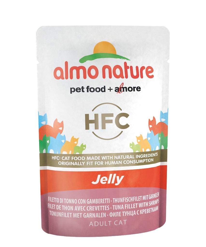 24x Almo Nature HFC Jelly - Tuňák a krevety v želé 55g výhodné balení