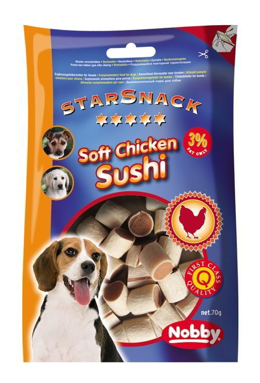 Nobby StarSnack Soft Chicken Sushi kuře & ryba 70g