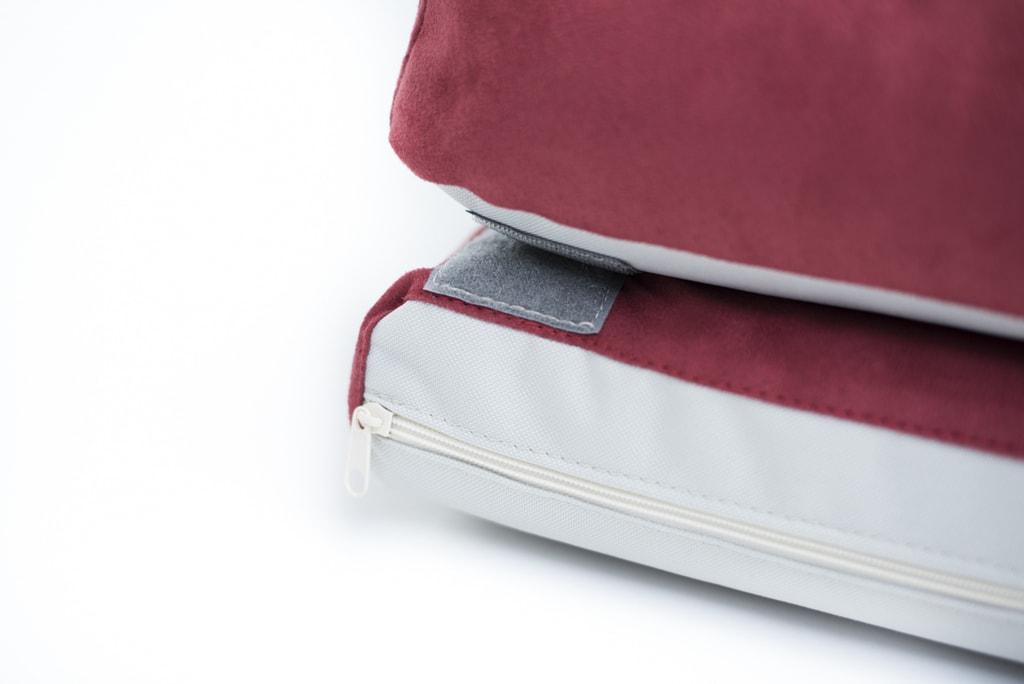 Aminela pelíšek s okrajem 80x60cm Half and Half červená/světle šedá