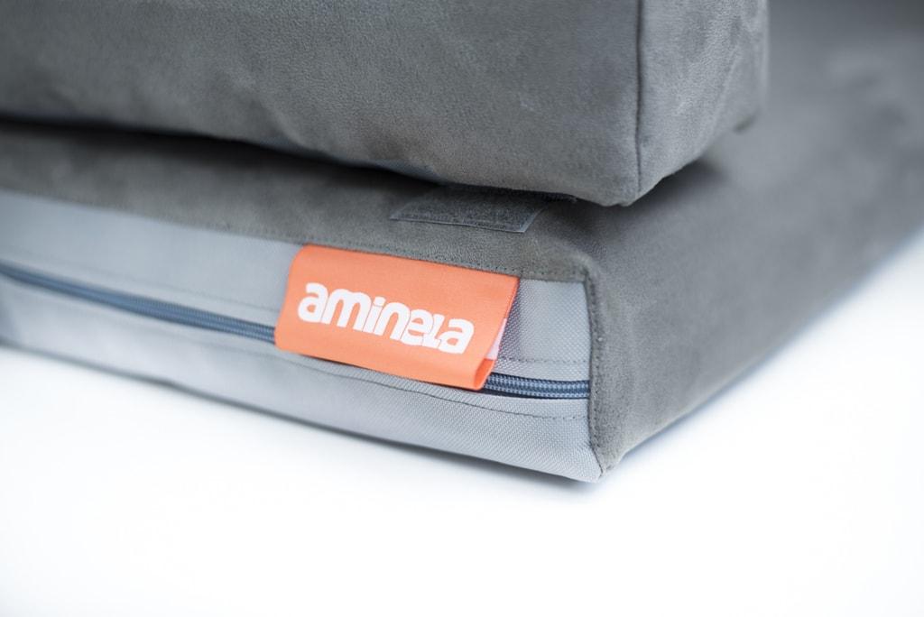 Aminela pelíšek s okrajem 80x60cm Half and Half šedá/šedá