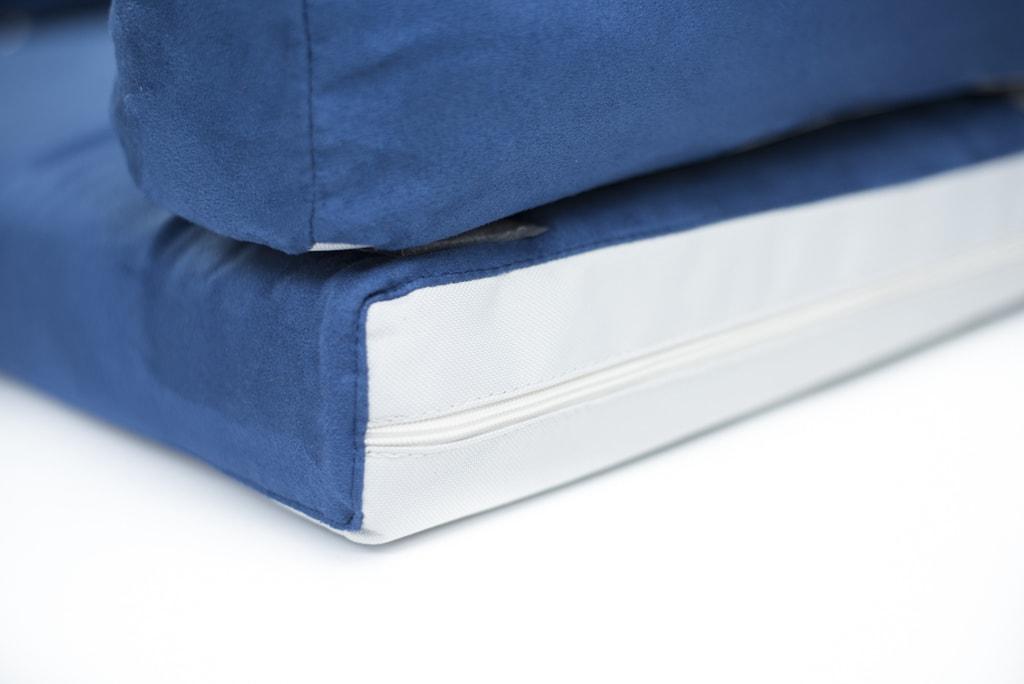 Aminela pelíšek s okrajem 80x60cm Half and Half modrá/světle šedá
