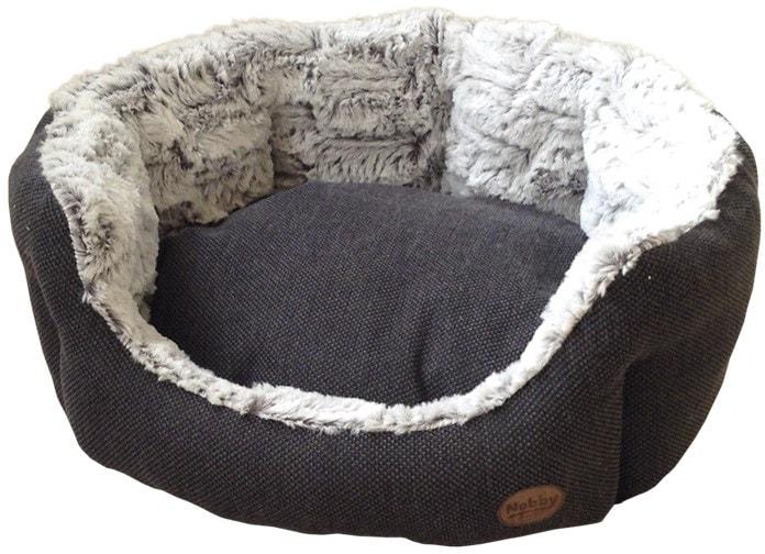 Nobby CACHO luxusní plyšový pelíšek šedý oválný 45x40x19cm