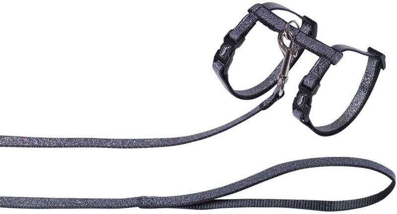 Nobby třpytivý postroj s vodítkem pro kočky černá