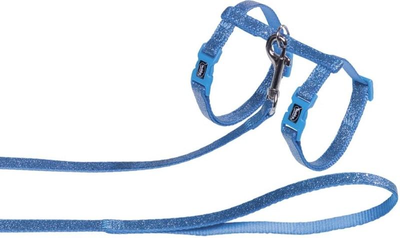 Nobby třpytivý postroj s vodítkem pro kočky modrá