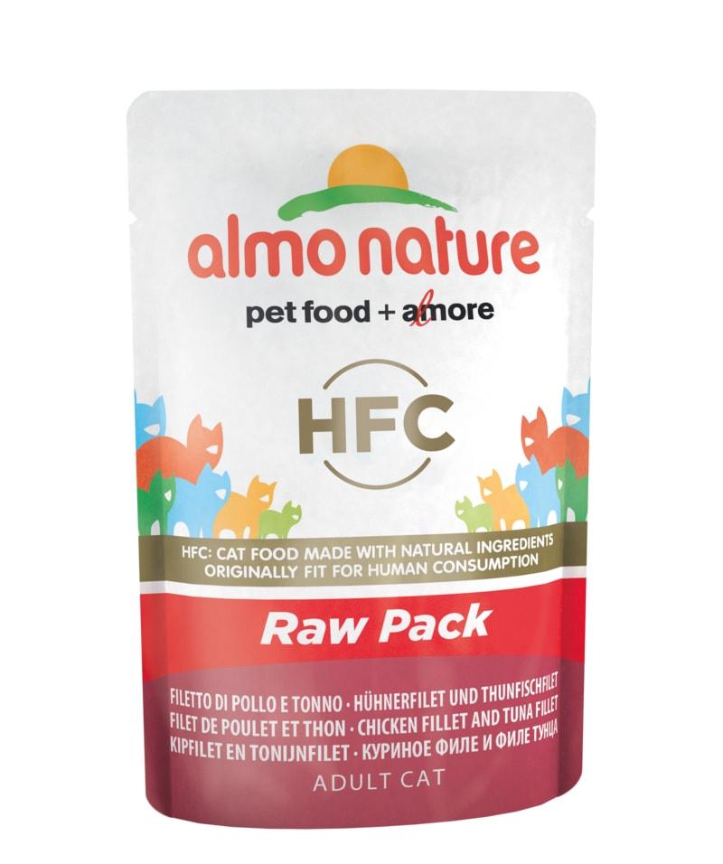 Almo Nature HFC Raw Pack WET CAT - Filet kuřete a tuňáka 55g