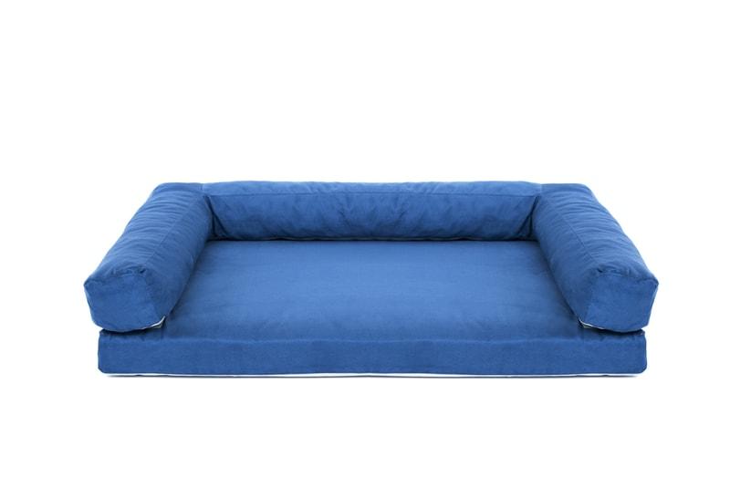 Aminela pelíšek s okrajem 120x80cm Half and Half modrá/světle šedá