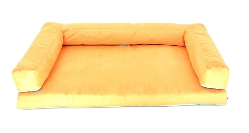 Aminela pelíšek s okrajem 80x60cm Half and Half oranžová/šedá