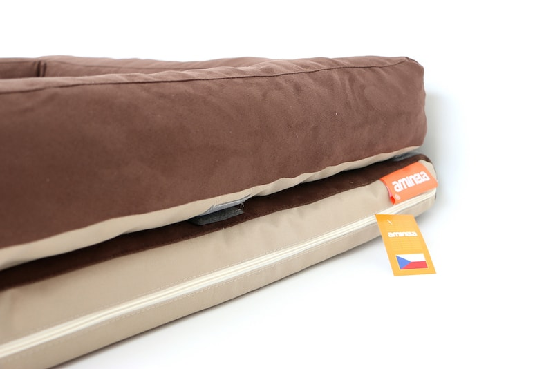 Aminela pelíšek s okrajem 80x60cm Half and Half hnědá/béžová