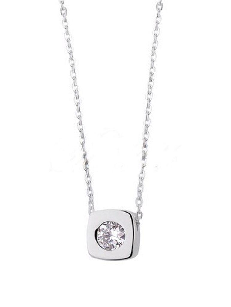 Stříbrný náhrdelník s bílým zirkonem