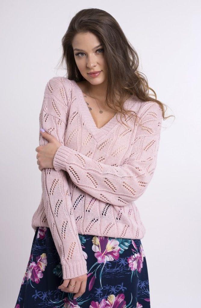 Dámský svetřík se vzorkem - UNI (S-L)  Light pink