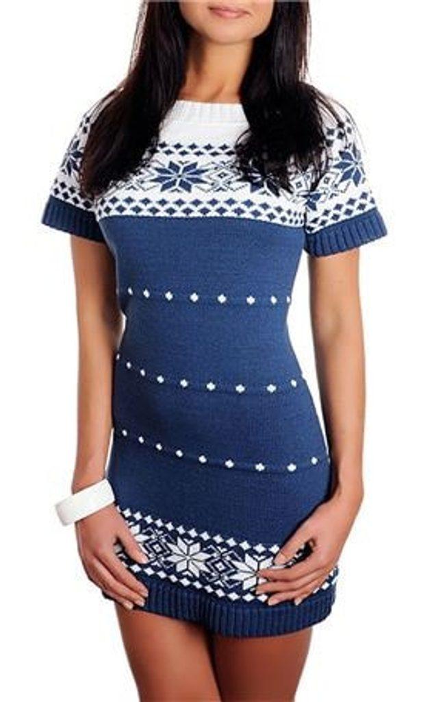 Dámské pletené šaty s norským vzorem - blue - UNI (S-L)