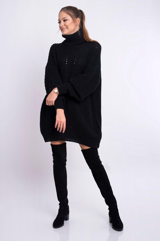 Dámské pletené šaty s rolákem - black - UNI (S-L)