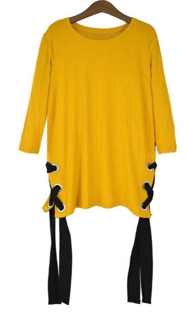 Exkluzivní svetr se šněrováním - UNI (S-L)  Yellow