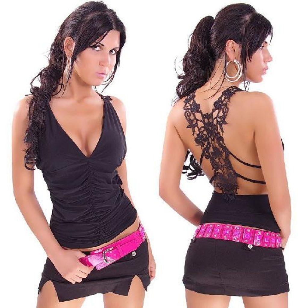 Dámské tílko s krajkou na zádech - black - UNI (S-L)  Black