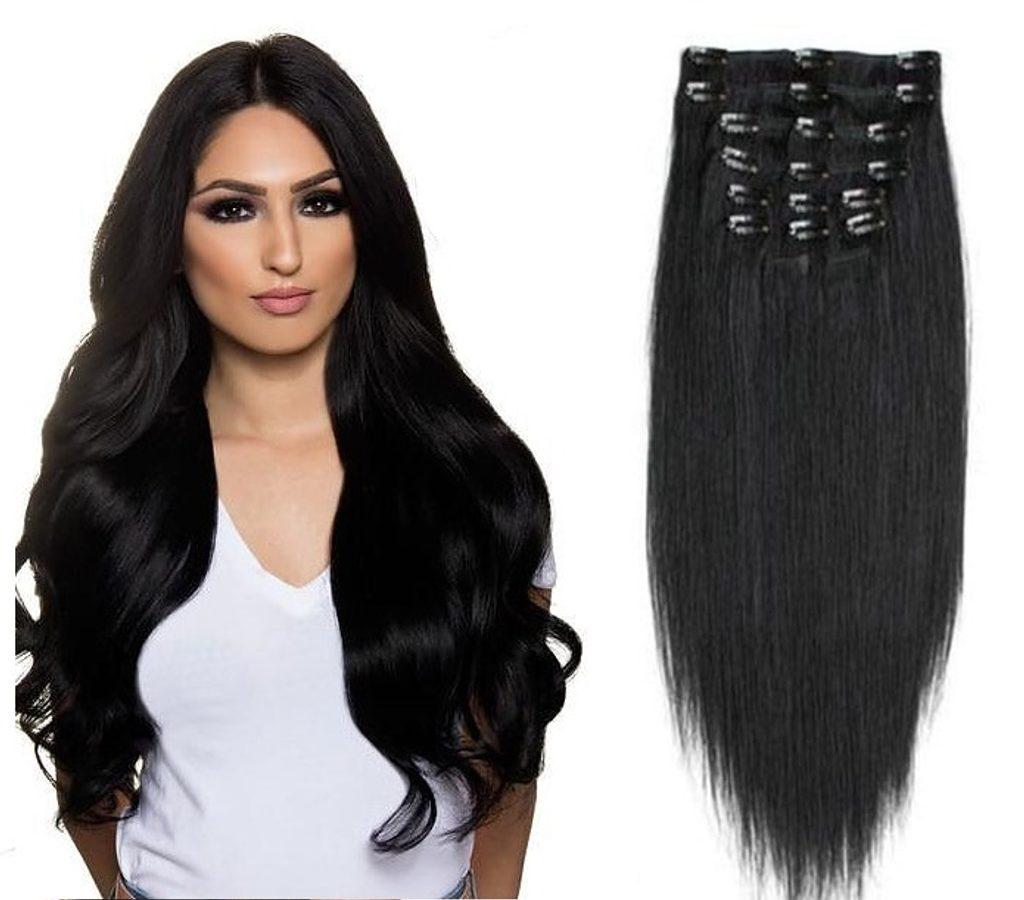 CLIP IN vlasy - 100% Lidské vlasy k prodloužení REMY, černo-hnědá - extra dlouhé 60cm