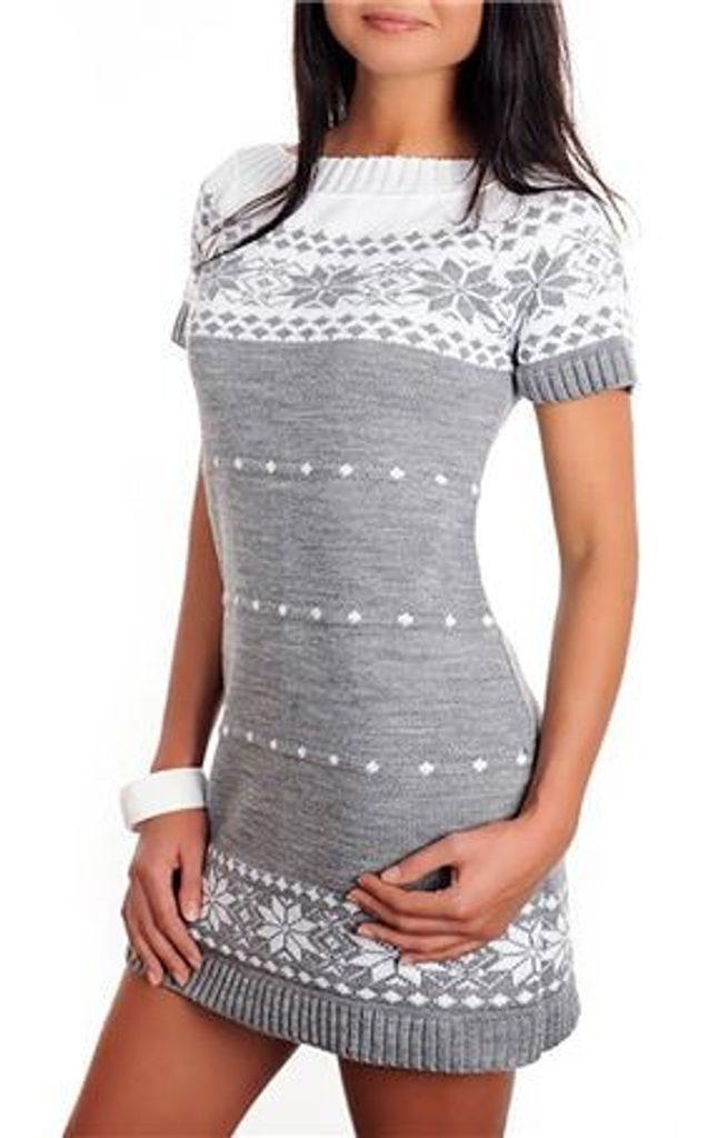 Dámské pletené šaty s norským vzorem - grey - UNI (S-L)