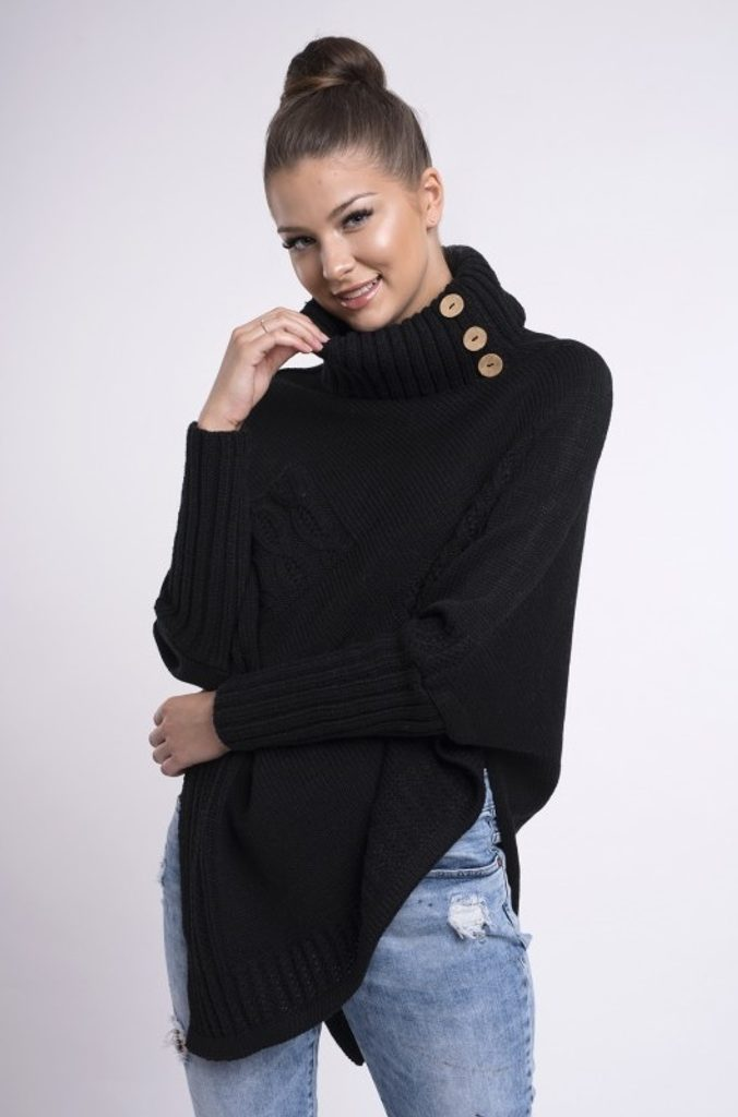 Dokonalé pletené pončo - black - UNI (S-L)